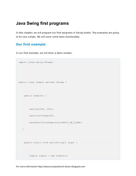 advantages of swing in java the java swing tutorial