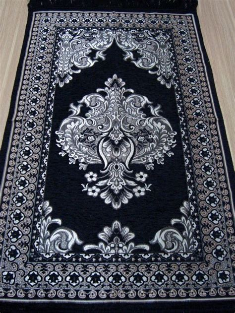 new black islamic prayer rug carpet mat namaz salat