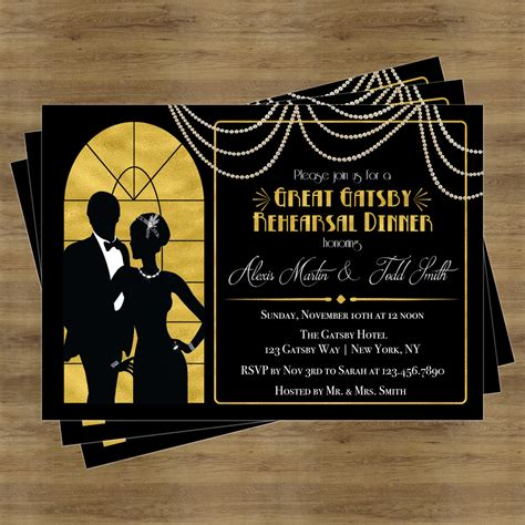 great gatsby themed invitation template great gatsby invitation rehearsal dinner invitation