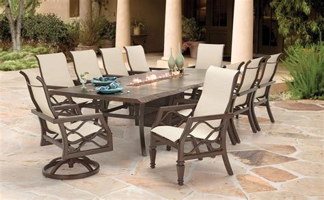 Patio Dining Set With Fire Pit Table   Alasweaspire