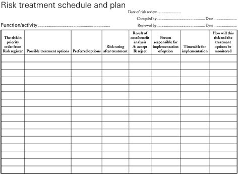 Window In Plan risk treatment schedule template
