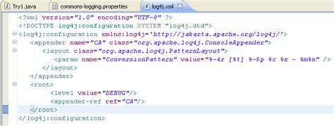 log4j pattern xml peak techie commons logging tutorial