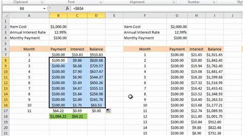 Credit Card Formula Calculating Credit Card Payments In Excel 2010