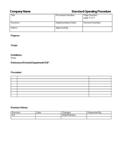 standard operating procedure template  standard