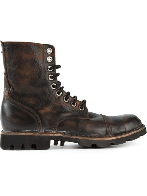 Diesel Steel diesel steel lace up boots in black for lyst