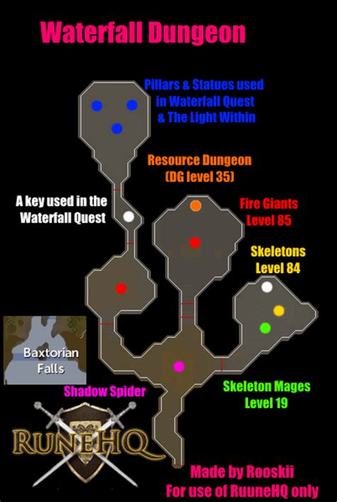 waterfall dungeon map runescape guide runehq