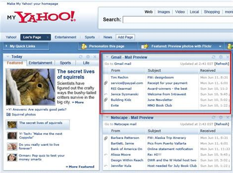 Yahoo Email Account Search My Yahoo Updates With Gmail Integration New Modules Search Engine Journal