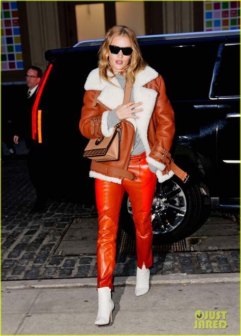 rosie huntington whiteley leather pants rosie huntington whiteley rocks orange leather pants in