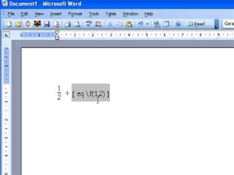 creating a fraction in microsoft word 2003 and 2007 youtube