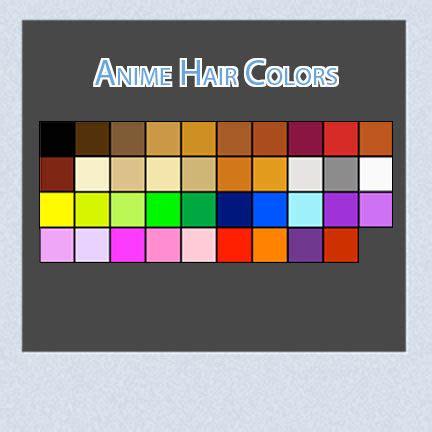 anime hair color chart www pixshark images