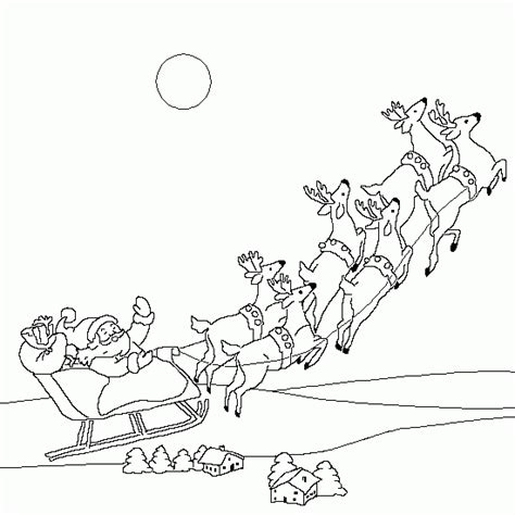coloring page reindeer pulling sleigh father christmas in his sleigh magic christmas coloring
