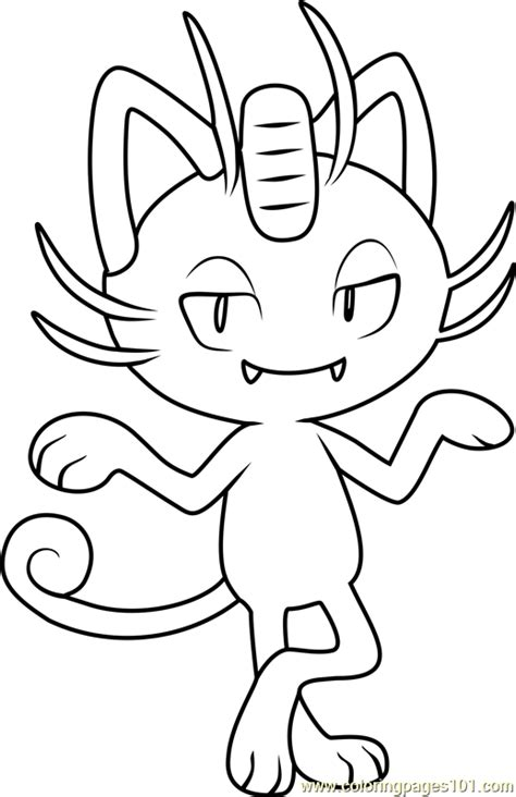 pokemon coloring pages meowth alola meowth pokemon sun and moon coloring page free