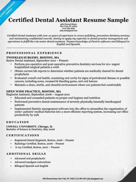 Certified Dental Assistant Resume Dental Resume Exles Writing Tips Resume Companion