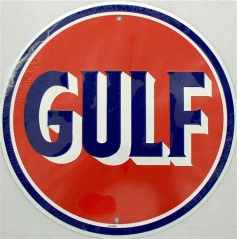 vintage gulf logo gulf oil gasoline logo retro vintage round tin sign