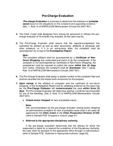 Complaint Letter In Tagalog Pnp Pre Charge Evaluation And Summary Hearing Guide
