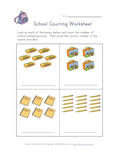 Counting Practice Worksheet by Back To School Counting Practice Worksheet