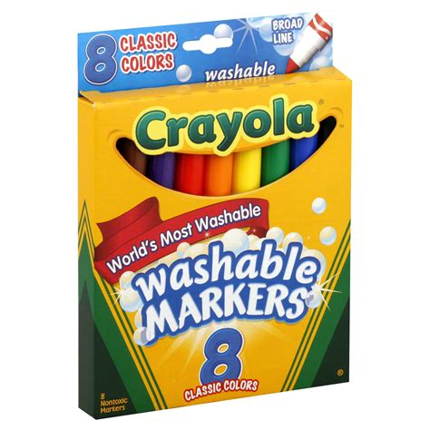 Crayola Broad Point Washable Markers 8 Markers Classic Colors crayola 25295811 broad point washable markers classic