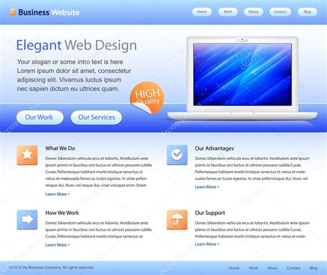 designing home page layout blue business website template home page design stock