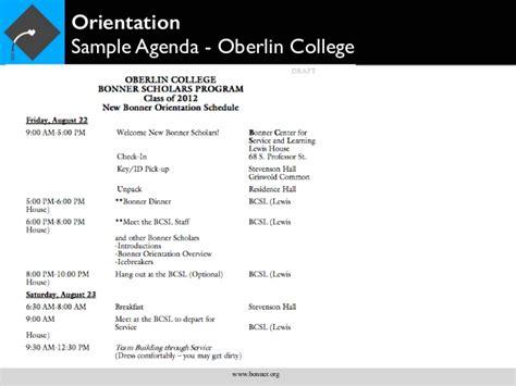 board member orientation agenda bonner orientation planning guide