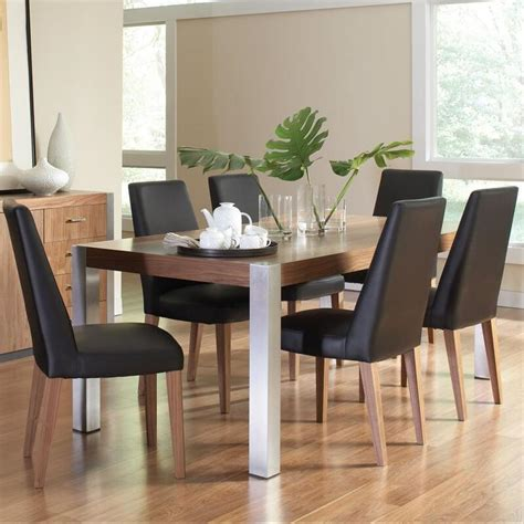 dining table with stainless steel legs faccini rectangular wood dining table with stainless steel