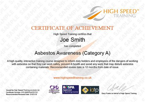 asbestos awareness certificate template asbestos awareness course