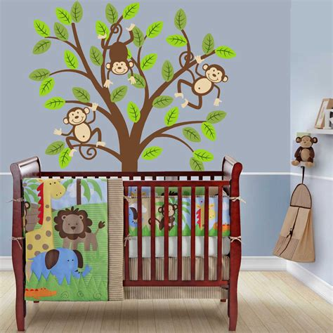 jungle nursery curtains monkey tree decal kids nursery decor safari jungle wall decal