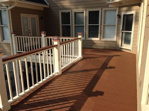 two tone deck copper solar lights solid stain painted deck rails chocolate stain hadn t