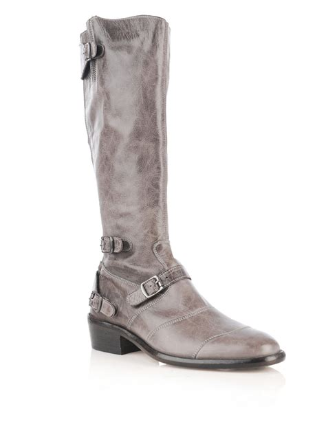 belstaff knee high leather boots in gray grey lyst