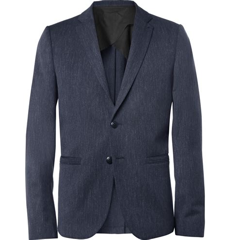 Slim Fit Wool Size 31 folk slim fit flecked wool and cotton blend blazer in blue for lyst