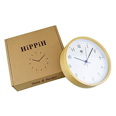 hippih silent wall clock timber 8 inches non ticking digital white hippih silent wall clock wood 8 inch non ticking digital