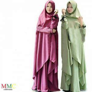 Setelan Gamis Dan Jilbab Syari baju muslim wanita modern setelan skirt belang murah