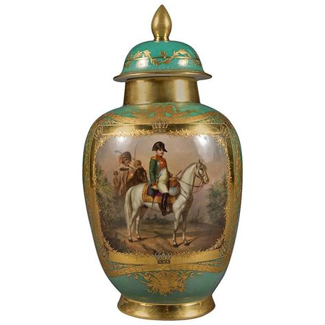 Dresden Vase by Antique Dresden Porcelain Jeweled Napoleonic Covered Vase