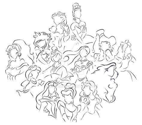 Disney Princess Lineart By Kezzamin On Deviantart Disney Princess Line Drawings Printable