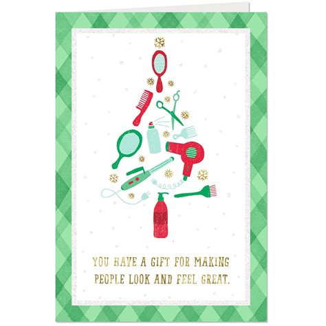 christmas greeting hair stylists you a gift thank you card for hair stylist greeting cards hallmark