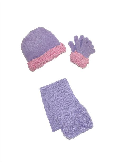womens chenille with trim hat gloves and scarf set by ctm