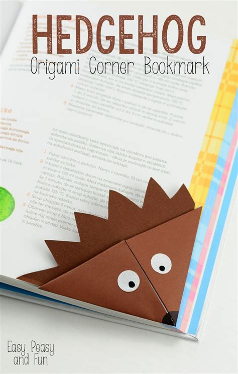 Folded Paper Corner Bookmark - hedgehog corner bookmark origami for easy peasy