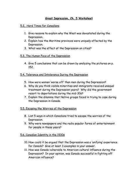 Depression Worksheet by 28 Worksheets For Depression The Great Depression