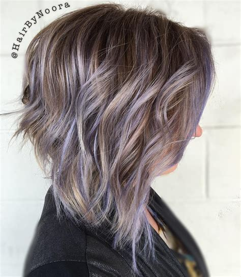 shag haircut brown hair with lavender grey streaks 20 swoon worthy lilac hairstyles