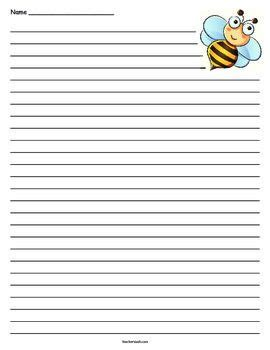 bee writing paper honey bee lined paper bees and writing paper