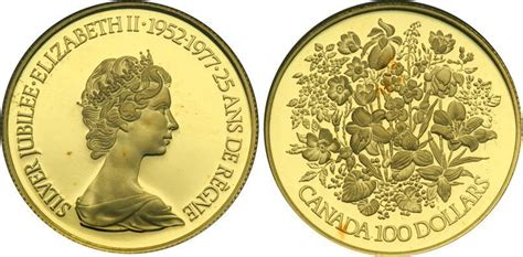100 Gold Section 8 by 100 Dollar 1977 Canada Gold Elizabeth Ii 1926 Prices