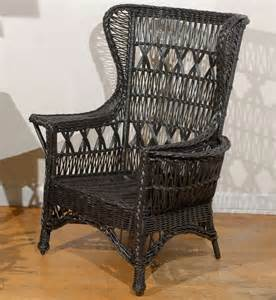 Wicker Wingback Chair Antique American Wicker Wing Chair With Magazine Pocket At