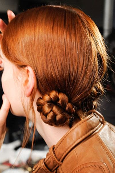 red braids in a bun double braided buns prom casual party fall evening