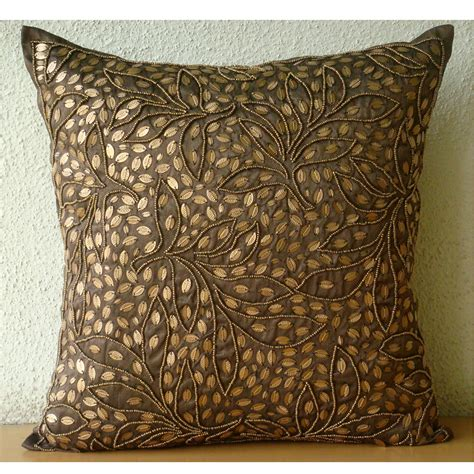 Brown Throw Pillows Cover For Couch Square Sequins Beaded Throw Pillows Covers For Sofa