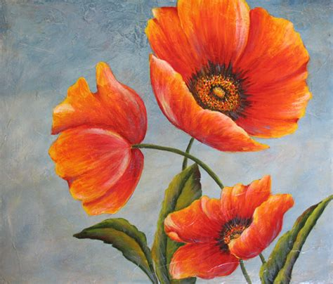 three poppies an original acrylic painting by dianetrierweiler 149 99