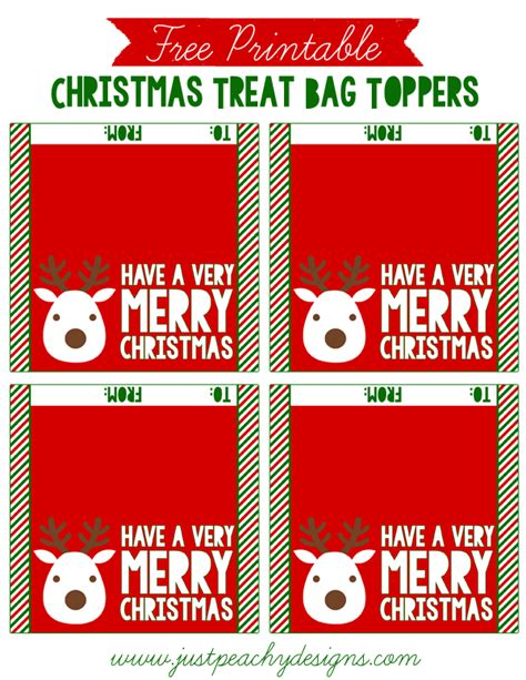 printable christmas bag tags just peachy designs free christmas treat bag toppers