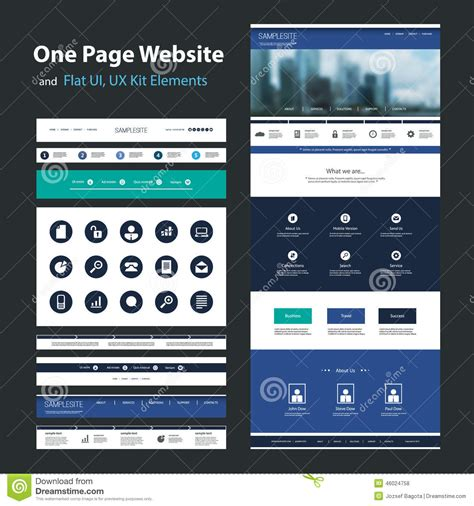 layout design for mobile website one page website design template and flat ui ux elements