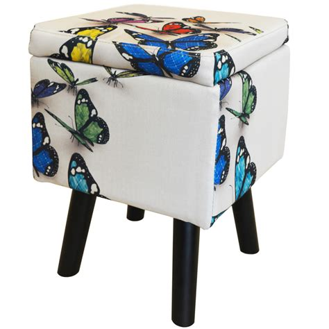 Padded Storage Stool by Butterfly Contemporary Retro Square Padded Storage Stool