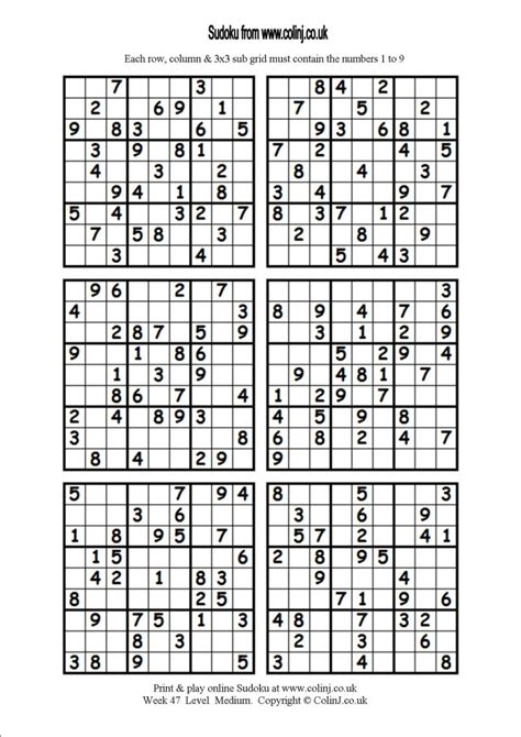 printable sudoku 6 to a page 4 best images of medium printable sudoku puzzles 4 per