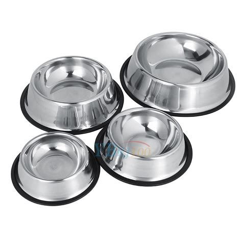 Feeding Dish Size Xl stainless steel non slip feeding food water dish bowls for pets cat s xl new ebay