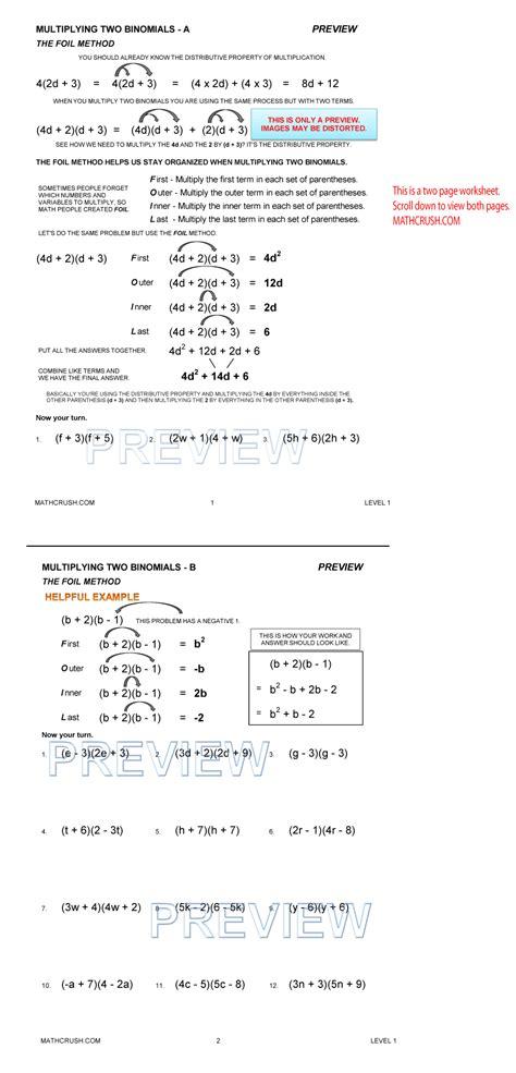 Foil Method Worksheet by Algebra Help Packets By Math Crush